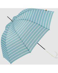 Ezpeleta Paraguas Largo Manual Azul A Rayas En Blanco Con Protección Solar UPF50+