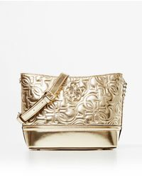 Guess New Wave Small Gold Hobo Bag With Logo Embossing - Metallic