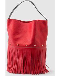 Mercules Racer Bucket Fringes Red Leather Hobo Bag With Fringe
