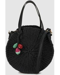 Green Coast - Wo Round Black Raffia Crossbody Bag - Lyst