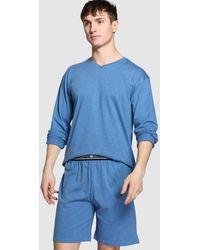 Punto Blanco Pantalón De Pijama De Hombre De Punto Corto Azul