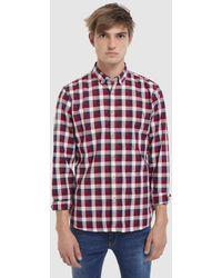 Green Coast - Slim-fit Maroon Checked Oxford Shirt - Lyst