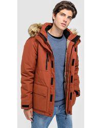 Green Coast - Orange Parka With Faux Fur Hood - Lyst