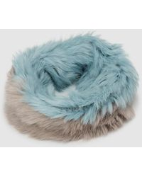 Jo & Mr. Joe - Two-tone Faux Fur Cowl In Pale Blue And Taupe - Lyst