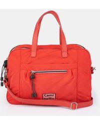 Caminatta Wo Red Nylon Portfolio With Long Detachable Strap