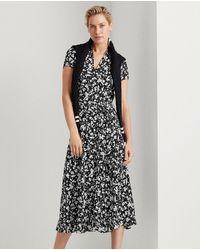Lauren by Ralph Lauren Short Sleeve Floral Print Dress - Black