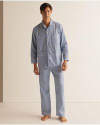 Mirto Pijama Largo De Tela De Hombre Azul