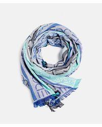 Esprit Cotton-blend Foulard With Brand Print - Blue