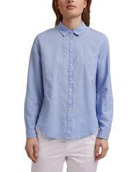 Esprit Camisa De Mujer Básica Manga Larga Lisa - Azul