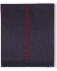 Emporio Armani - Grey Printed Wool Scarf - Lyst