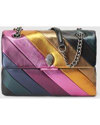 Kurt Geiger - Soho Medium Leather Shoulder Bag With Multicoloured Stripes - Lyst