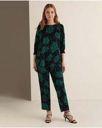 Couchel Pantalón Fluido De Mujer Talla Grande Con Estampado Floral - Verde