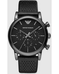 Emporio Armani Black Stainless Steel & Leather Men's Watch