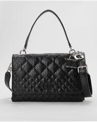 Guess Black Handbag With Logo Print And Shoulder Strap