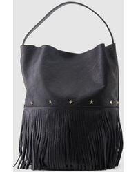 Mercules - Racer Bucket Fringes Black Leather Hobo Bag With Fringe - Lyst