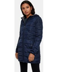 Vero Moda - Navy Blue Hooded Quilted Coat - Lyst