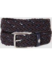 Lottusse - Mens Combined Navy Blue Leather And Rope Belt - Lyst