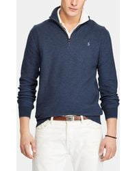 Polo Ralph Lauren - Blue Pima Cotton Sweater With A Polo Neck - Lyst