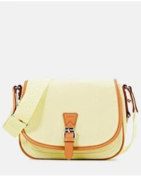 Esprit Large Light Yellow Cotton Crossbody Bag With Buckle