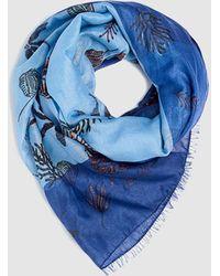 Esprit Blue Foulard With Printed Marine Motifs