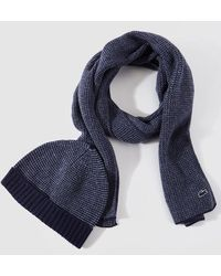 Lacoste - Blue Knitted Hat And Scarf Set - Lyst