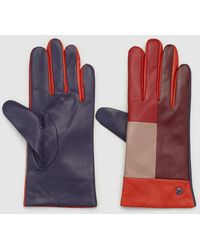 Jo & Mr. Joe - Three-tone Nappa Leather Gloves In Red, Purple And Nude - Lyst