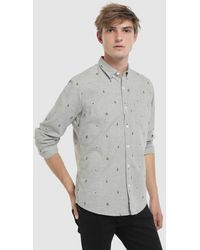 Green Coast - Slim-fit Grey Christmas Print Shirt - Lyst