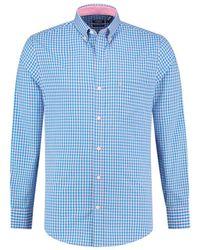 Izod Mens Regular-fit Pale Pink And Blue Gingham Shirt