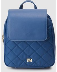 Gloria Ortiz Nanette Blue Nylon Mini Quilted Backpack With Flap