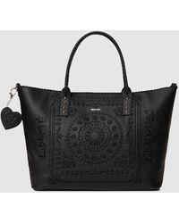 Desigual Soft Bandana Holbox Black Shopper Bag With Mandala Embroidery