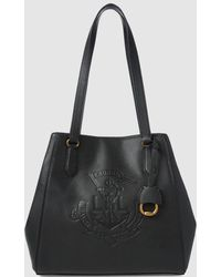 Lauren by Ralph Lauren - Black Leather Tote Bag With Brand Embossing - Lyst