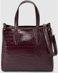 El Corte Inglés Medium Burgundy Handbag With Mock-croc Embossing - Purple