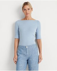 Lauren by Ralph Lauren Wo Plain-coloured T-shirt With French Sleeves - Blue
