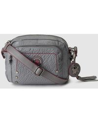 Caminatta - Small Light Grey Crossbody Bag With Contrasting Topstitching - Lyst