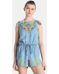 Green Coast - Embroidered Beach Romper - Lyst
