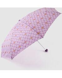 Caminatta Paraguas Plegable Mini En Morado Con Estampado Fantasía