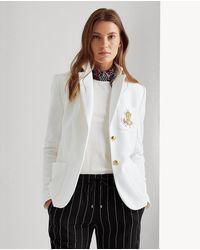 Lauren by Ralph Lauren Wo Plain-coloured Long Sleeve Jacket - White