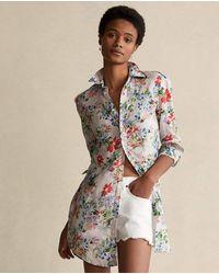 Polo Ralph Lauren Camisa De Mujer Larga De Lino - Multicolor