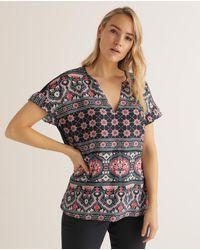 Couchel Plus Size Paisley Print V-neck T-shirt - Black