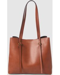 Polo Ralph Lauren - Small Brown Calfskin Leather Tote Bag With Magnet  Closure - Lyst c3fe3815254a6