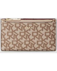 DKNY Small Beige Printed Wallet With Burgundy Interior - Natural