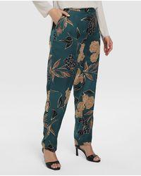 Couchel Pantalón Fluido De Mujer Talla Grande Con Estampado Floral - Azul