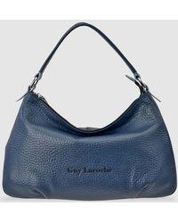 Guy Laroche Navy Blue Leather Hobo Bag With Zip