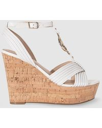 Guess - White Wedge Sandals With Straps - Lyst