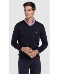 Tommy Hilfiger Blue V-neck Sweater