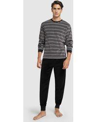 Punto Blanco Mens Long Two-tone Knit Pajamas - Black