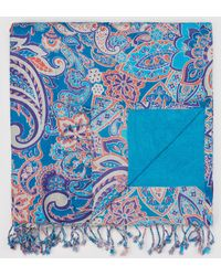 El Corte Inglés Blue Paisley Print Beach Wrap