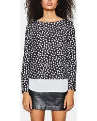 Esprit - Printed Sweater With Shirt-tails - Lyst