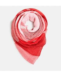 Esprit Red Pleated Foulard With Checked Design