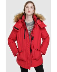 Green Coast - Red Parka With A Fur-trimmed Hood - Lyst